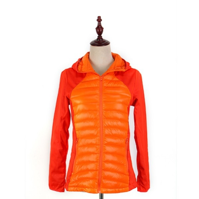 Orange hooded down jacket